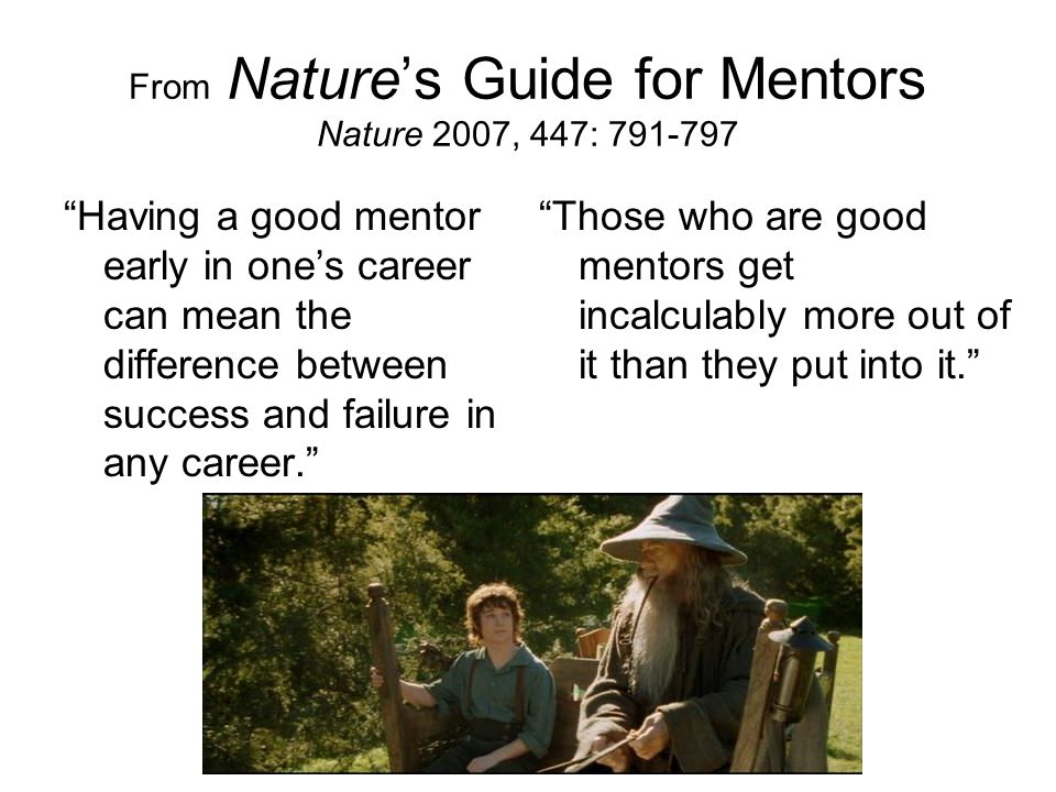 From Nature's Guide for Mentors Nature 2007, 447: 791-797 Having a good mentor early in one's career can mean the difference between success and failure in any career. Those who are good mentors get incalculably more out of it than they put into it.