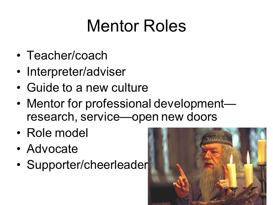 Mentor Roles Teacher/coach Interpreter/adviser Guide to a new culture Mentor for professional development— research, service—open new doors Role model Advocate Supporter/cheerleader