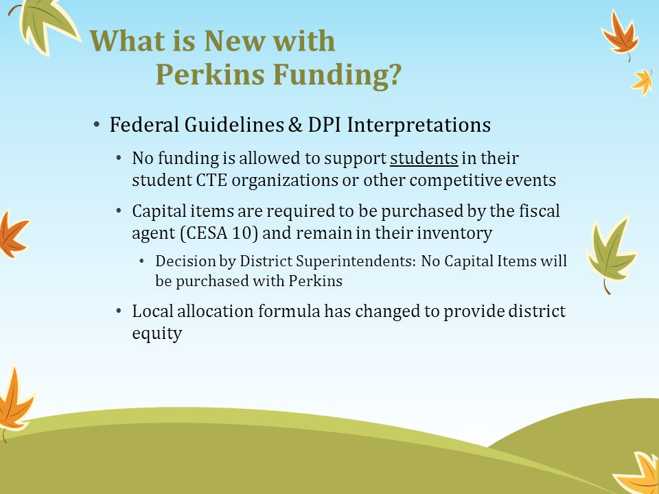 What is New with Perkins Funding? Federal Guidelines & DPI Interpretations No funding is allowed to support students in their student CTE organization