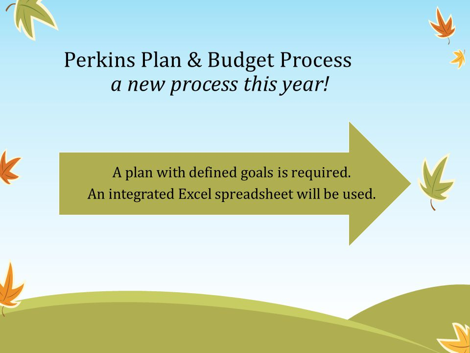 Perkins Plan & Budget Process a new process this year! A plan with defined goals is required. An integrated Excel spreadsheet will be used.