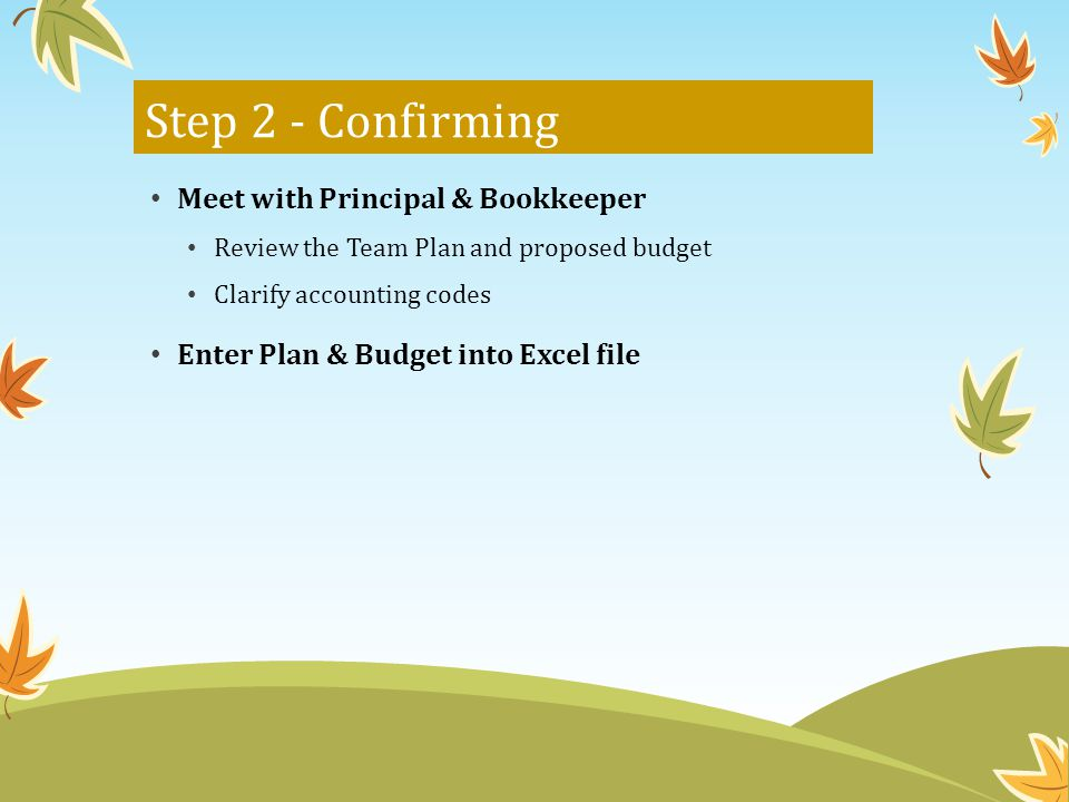 Step 2 - Confirming Meet with Principal & Bookkeeper Review the Team Plan and proposed budget Clarify accounting codes Enter Plan & Budget into Excel file