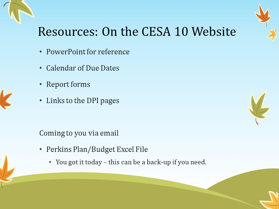 Resources: On the CESA 10 Website PowerPoint for reference Calendar of Due Dates Report forms Links to the DPI pages Coming to you via email Perkins Plan/Budget Excel File You got it today – this can be a back-up if you need.