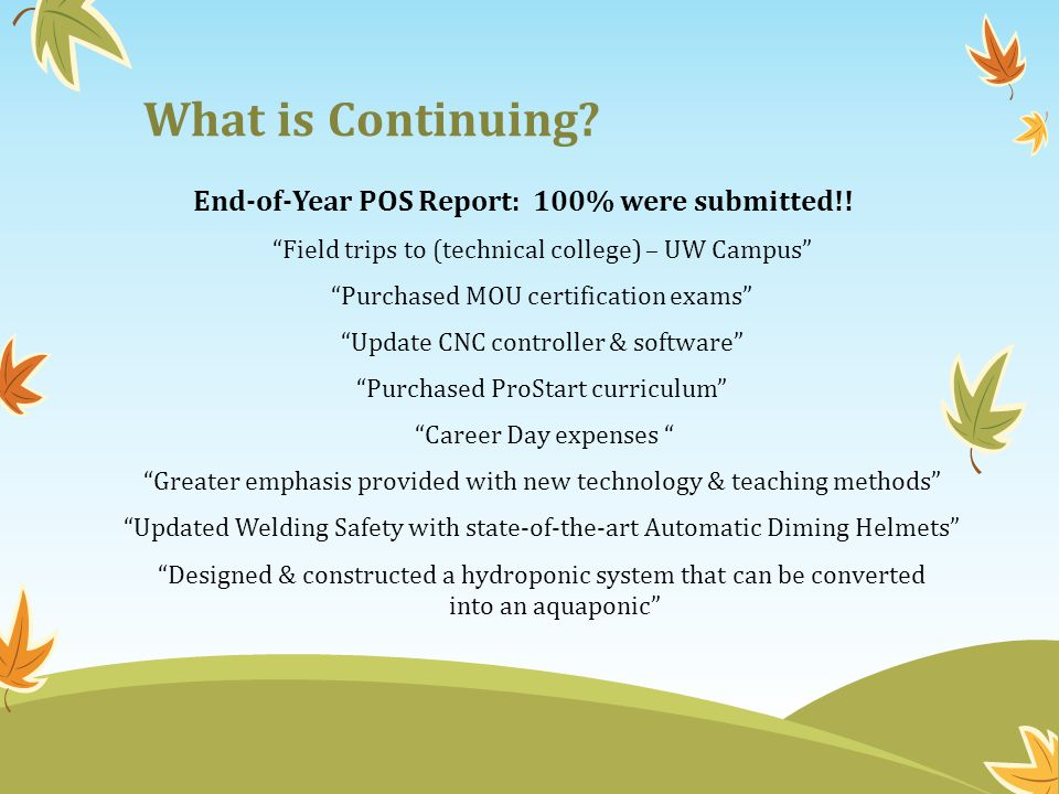 What is Continuing. End-of-Year POS Report: 100% were submitted!.