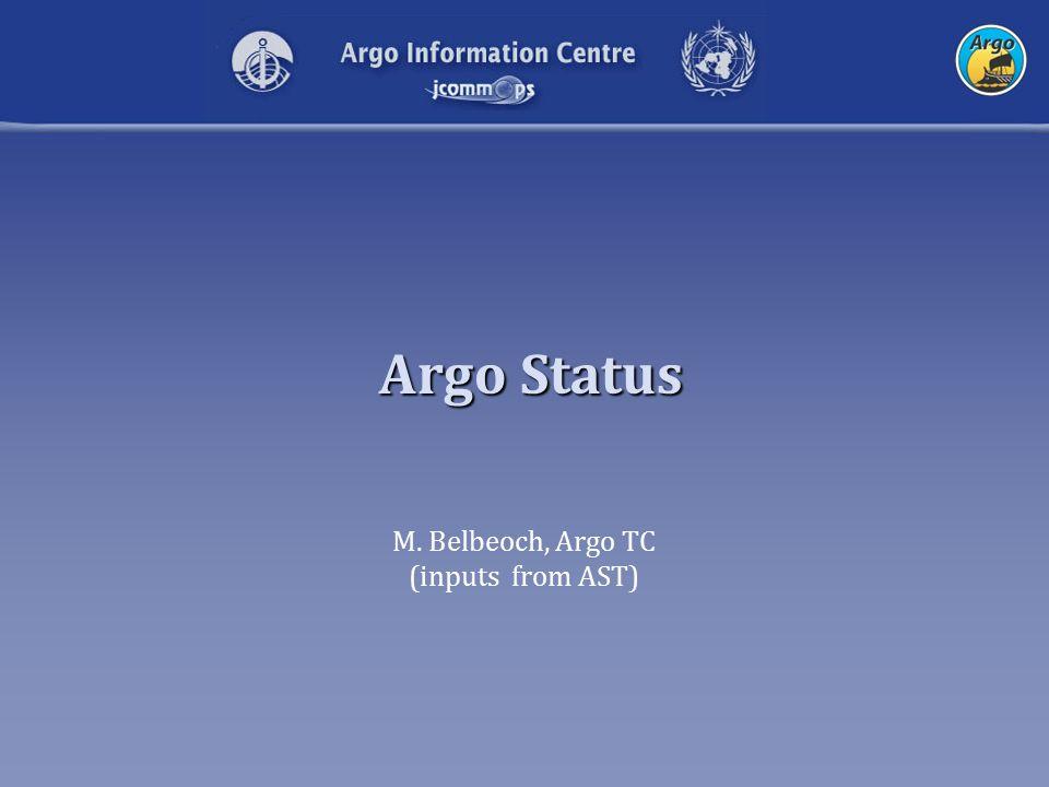 Argo Status M. Belbeoch, Argo TC (inputs from AST)