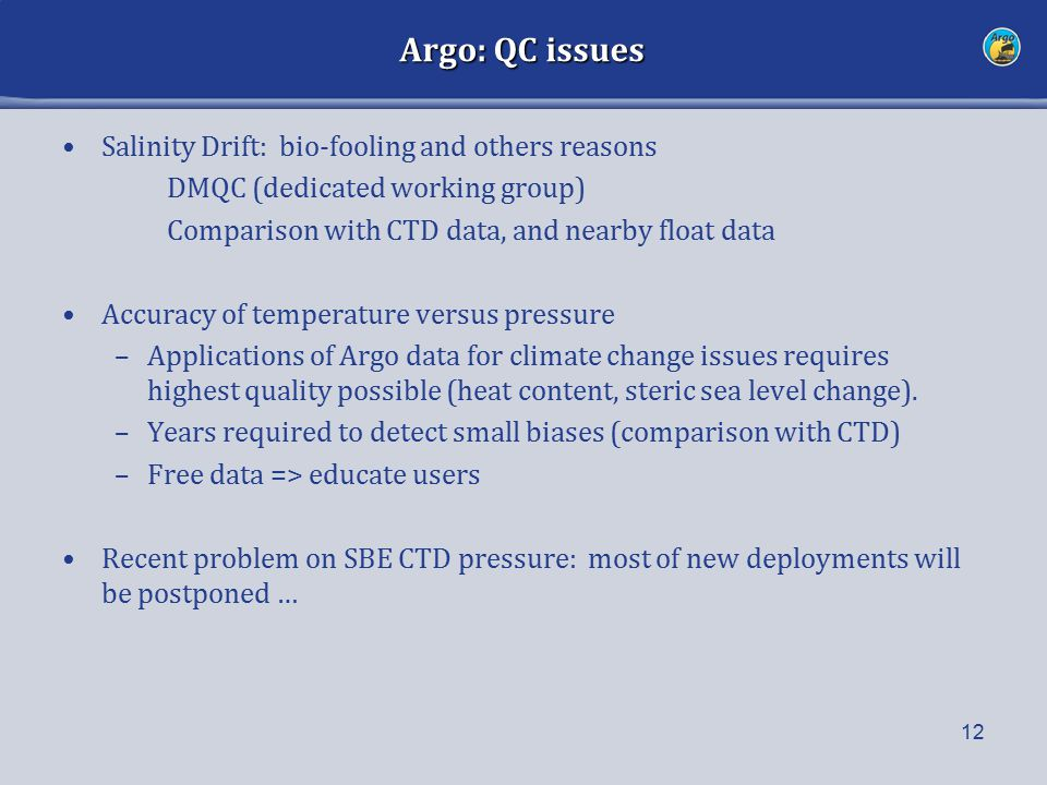 Argo: QC issues Salinity Drift: bio-fooling and others reasons DMQC (dedicated working group) Comparison with CTD data, and nearby float data Accuracy