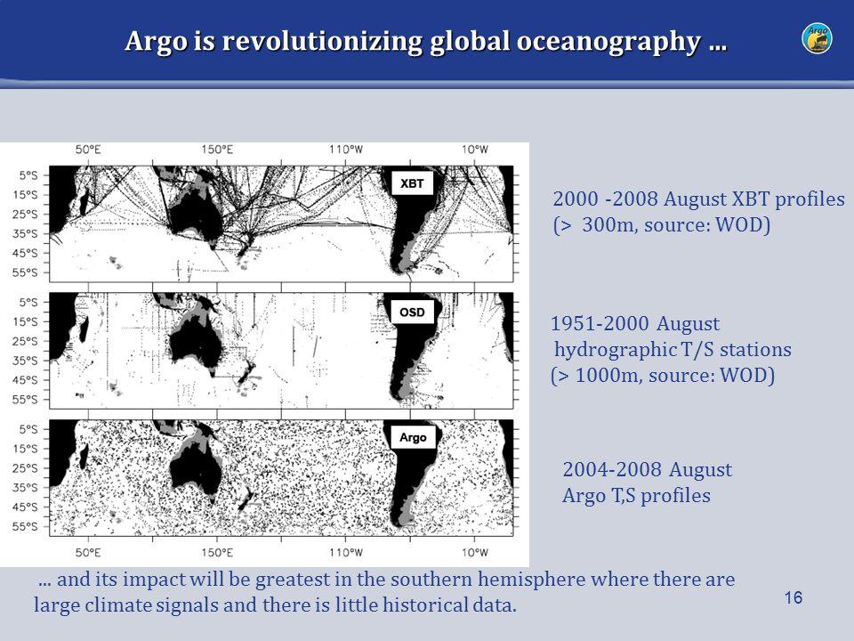 Argo is revolutionizing global oceanography... 16...