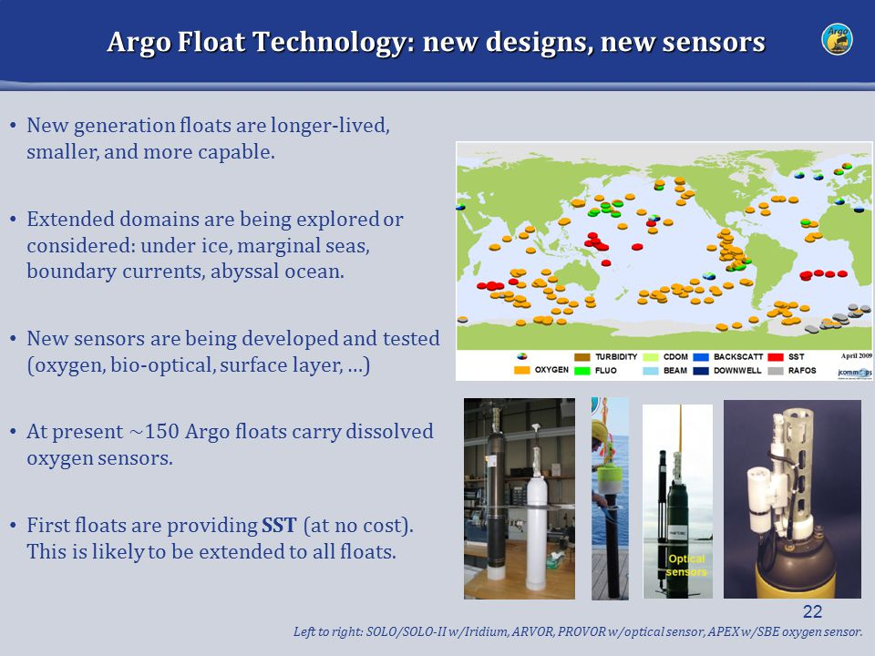 Argo Float Technology: new designs, new sensors 22 New generation floats are longer-lived, smaller, and more capable. Extended domains are being explo