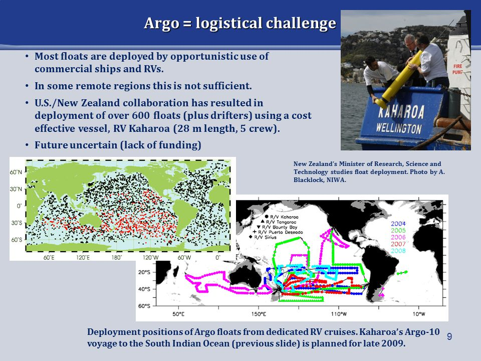Argo = logistical challenge 9 Deployment positions of Argo floats from dedicated RV cruises.