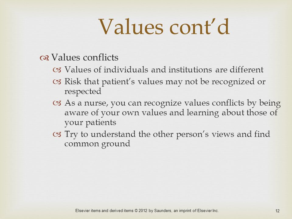 Elsevier items and derived items © 2012 by Saunders, an imprint of Elsevier Inc. 12 Values cont'd  Values conflicts  Values of individuals and insti