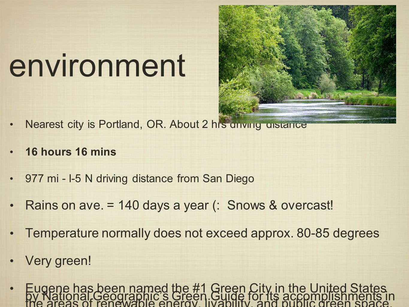 environment Nearest city is Portland, OR.