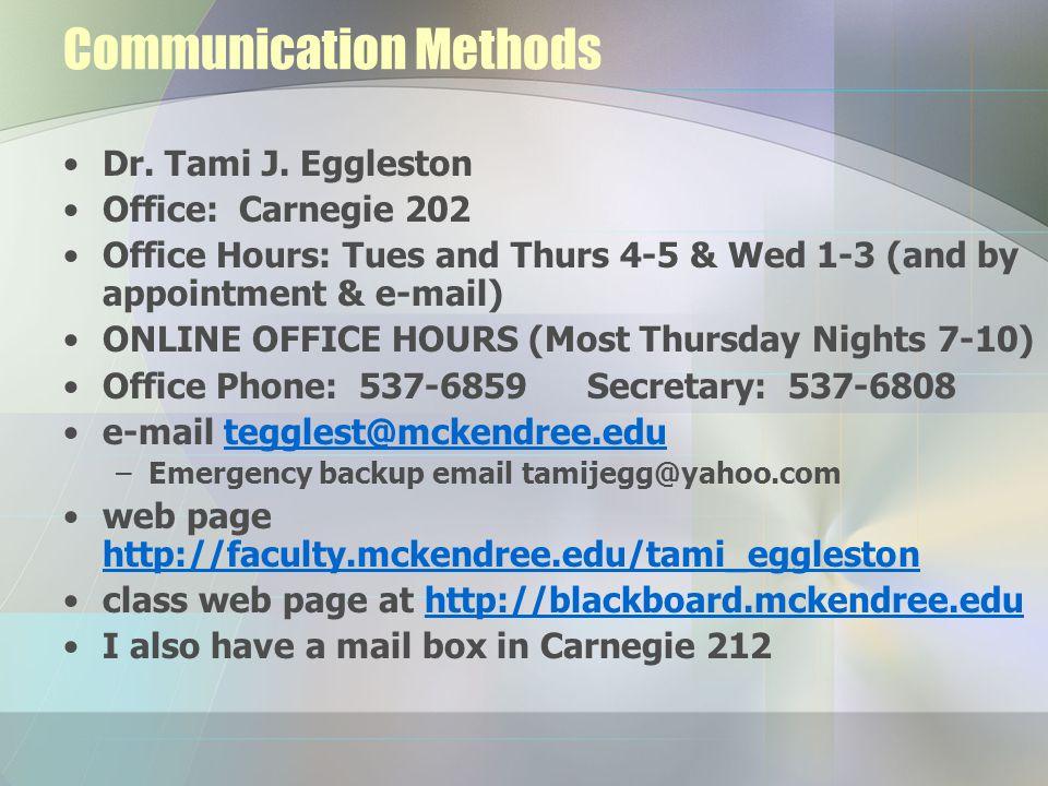 Communication Methods Dr. Tami J.