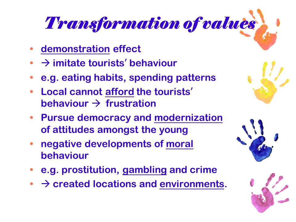 Transformation of values demonstration effect  imitate tourists ' behaviour e.g. eating habits, spending patterns Local cannot afford the tourists '