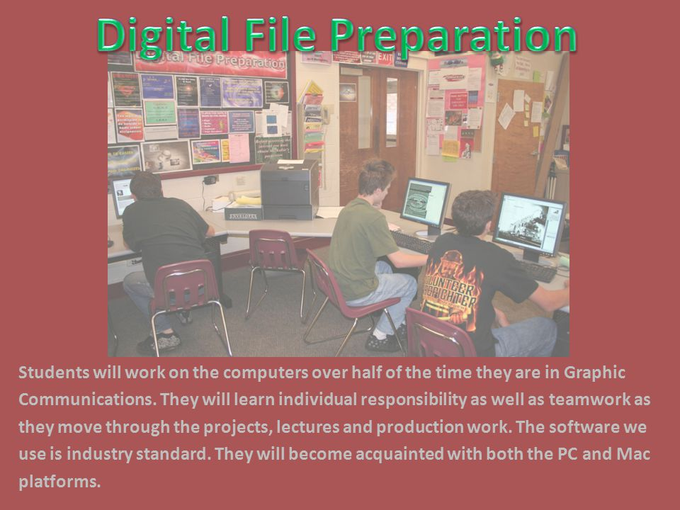 Students will work on the computers over half of the time they are in Graphic Communications.