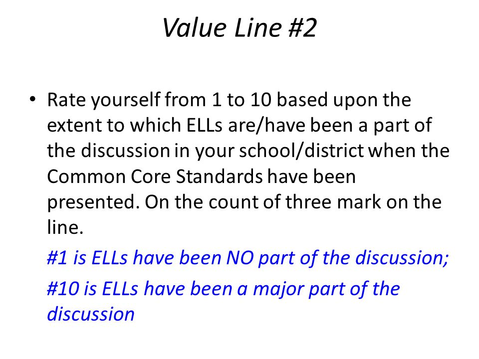 Value Line #2 Rate yourself from 1 to 10 based upon the extent to which ELLs are/have been a part of the discussion in your school/district when the Common Core Standards have been presented.