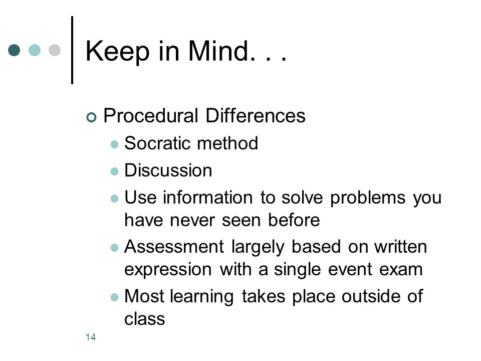 Keep in Mind... Procedural Differences Socratic method Discussion Use information to solve problems you have never seen before Assessment largely base