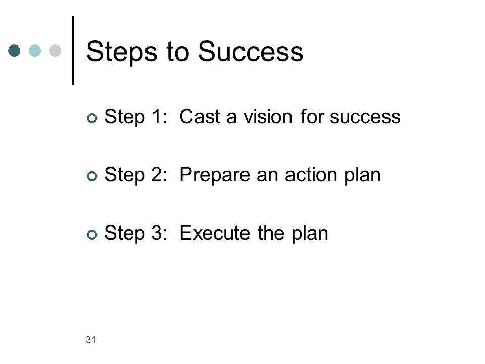 Steps to Success Step 1: Cast a vision for success Step 2: Prepare an action plan Step 3: Execute the plan 31