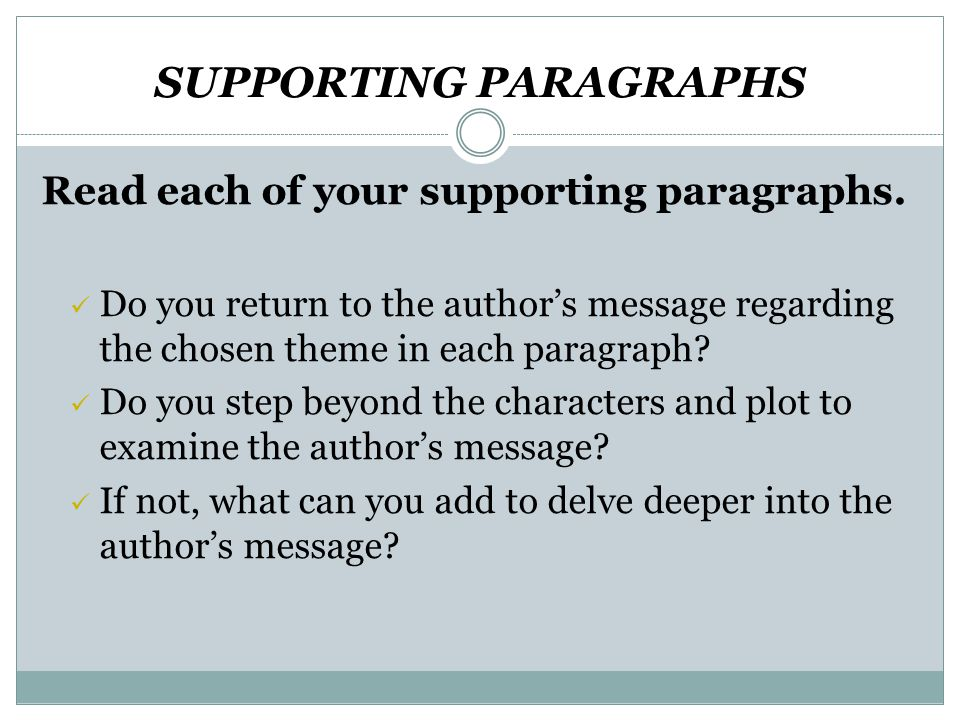 SUPPORTING PARAGRAPHS Read each of your supporting paragraphs.