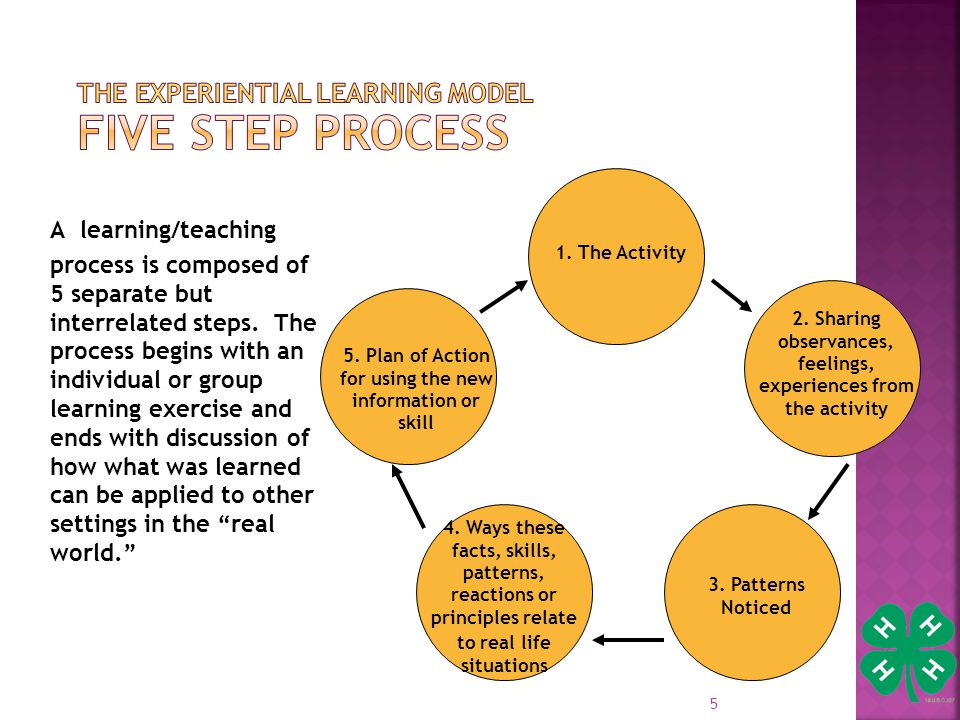 5 A learning/teaching process is composed of 5 separate but interrelated steps.