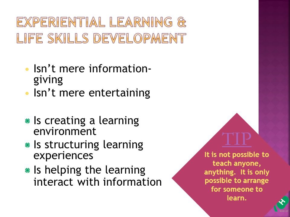 7 Isn't mere information- giving Isn't mere entertaining Is creating a learning environment Is structuring learning experiences Is helping the learning interact with information TIP It is not possible to teach anyone, anything.