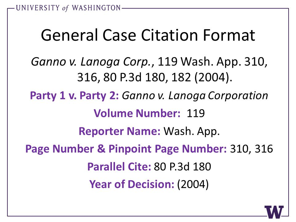 General Case Citation Format Ganno v. Lanoga Corp., 119 Wash.