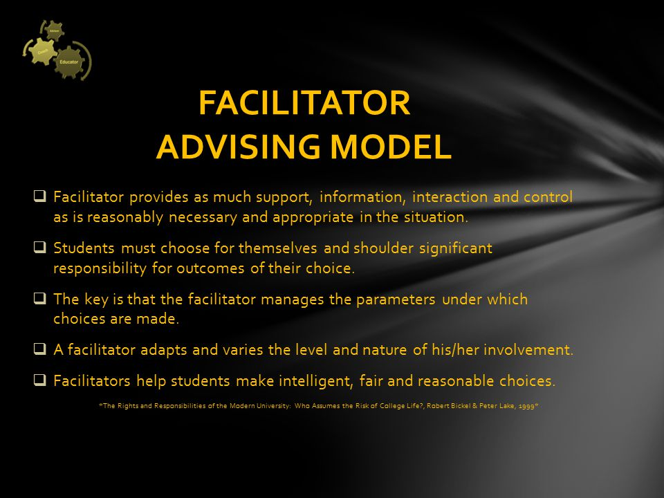  Facilitator provides as much support, information, interaction and control as is reasonably necessary and appropriate in the situation.