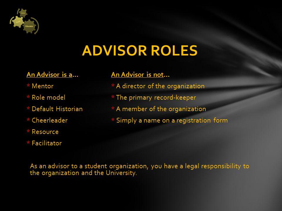 Literature 1)National Center for Student Leadership White Paper; Risk Management for Student organization Advisors .