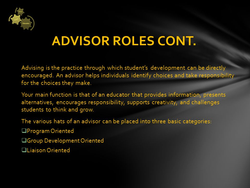 Advise students in planning projects, events, or programs (i.e.