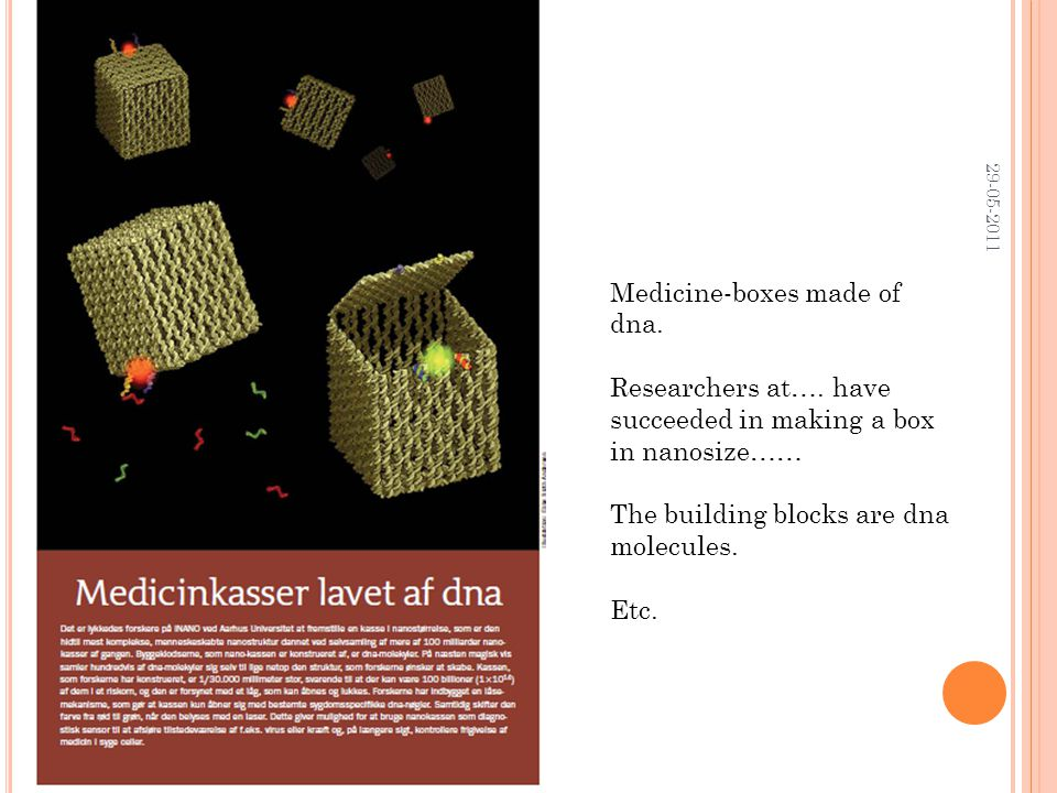 29-05-2011 Medicine-boxes made of dna. Researchers at….