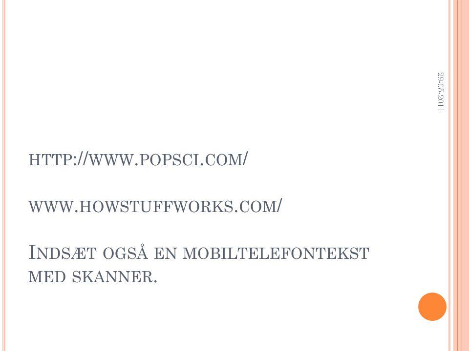 HTTP :// WWW. POPSCI. COM / WWW. HOWSTUFFWORKS. COM / I NDSÆT OGSÅ EN MOBILTELEFONTEKST MED SKANNER. 29-05-2011