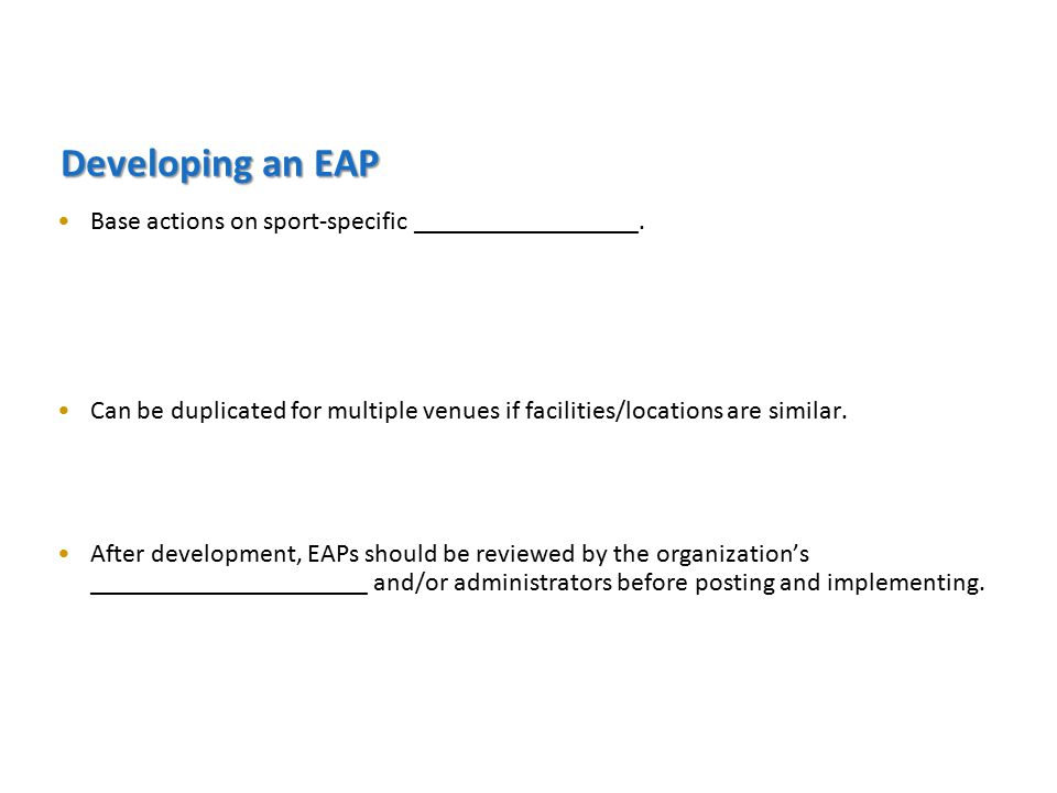 Developing an EAP Base actions on sport-specific _________________.