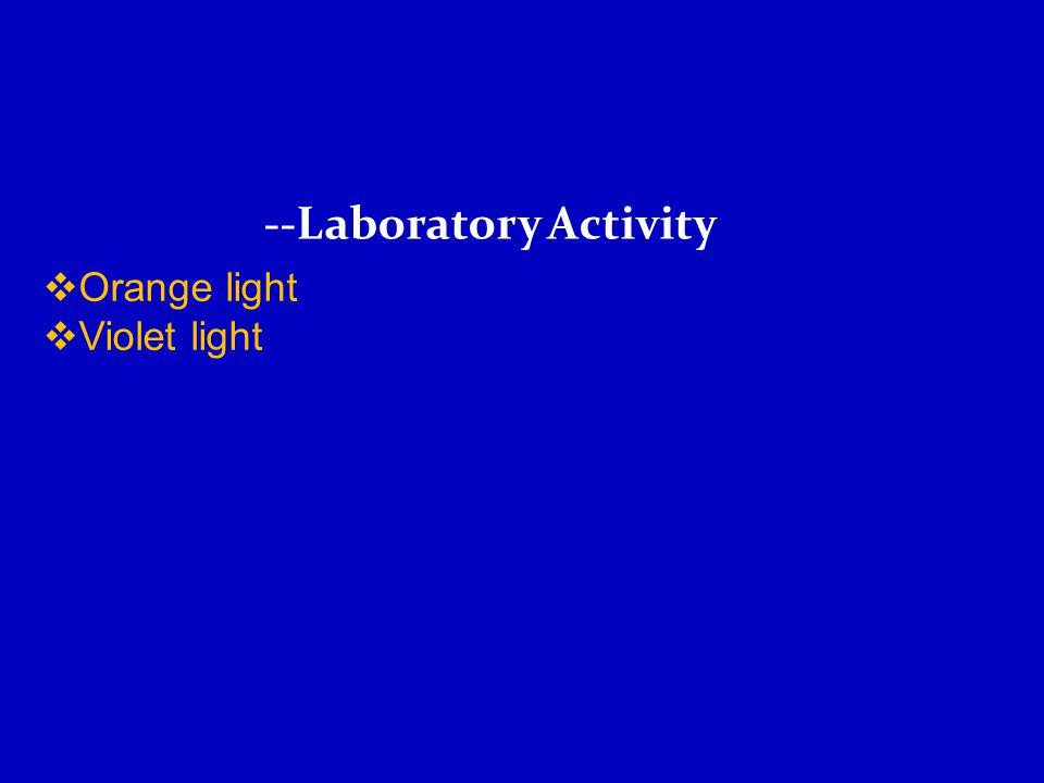 --Laboratory Activity  Orange light  Violet light