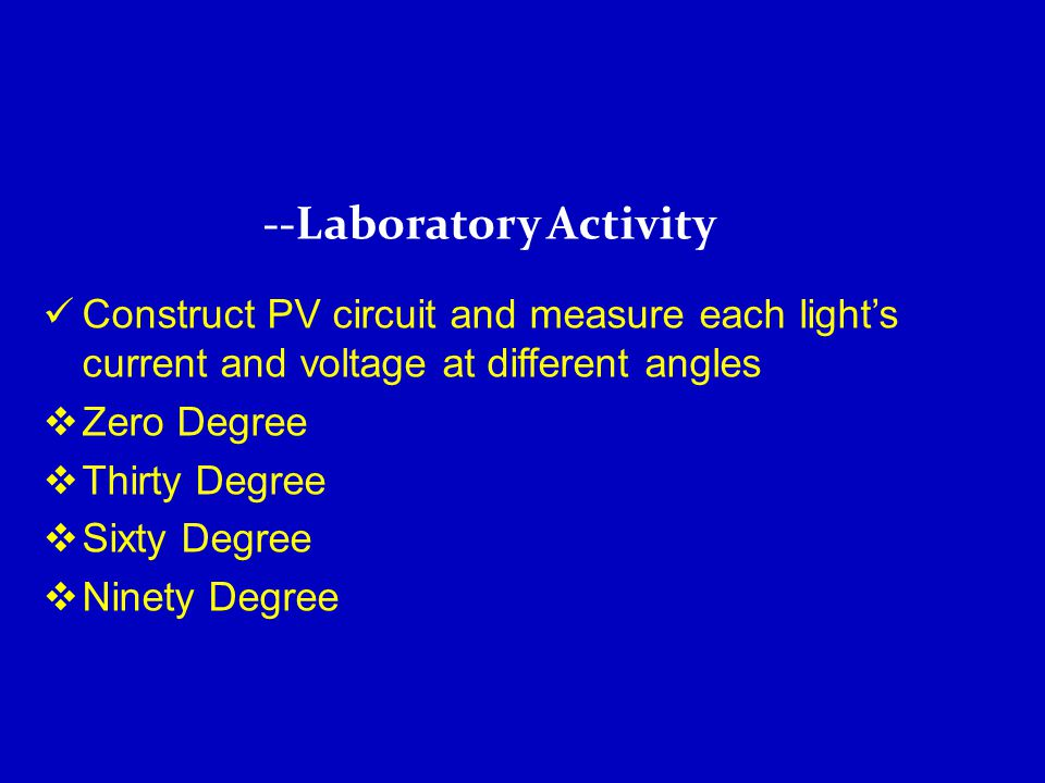 Construct PV circuit and measure each light's current and voltage at different angles  Zero Degree  Thirty Degree  Sixty Degree  Ninety Degree --Laboratory Activity