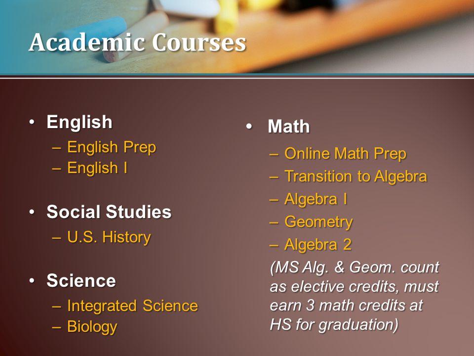 EnglishEnglish –English Prep –English I Social StudiesSocial Studies –U.S.