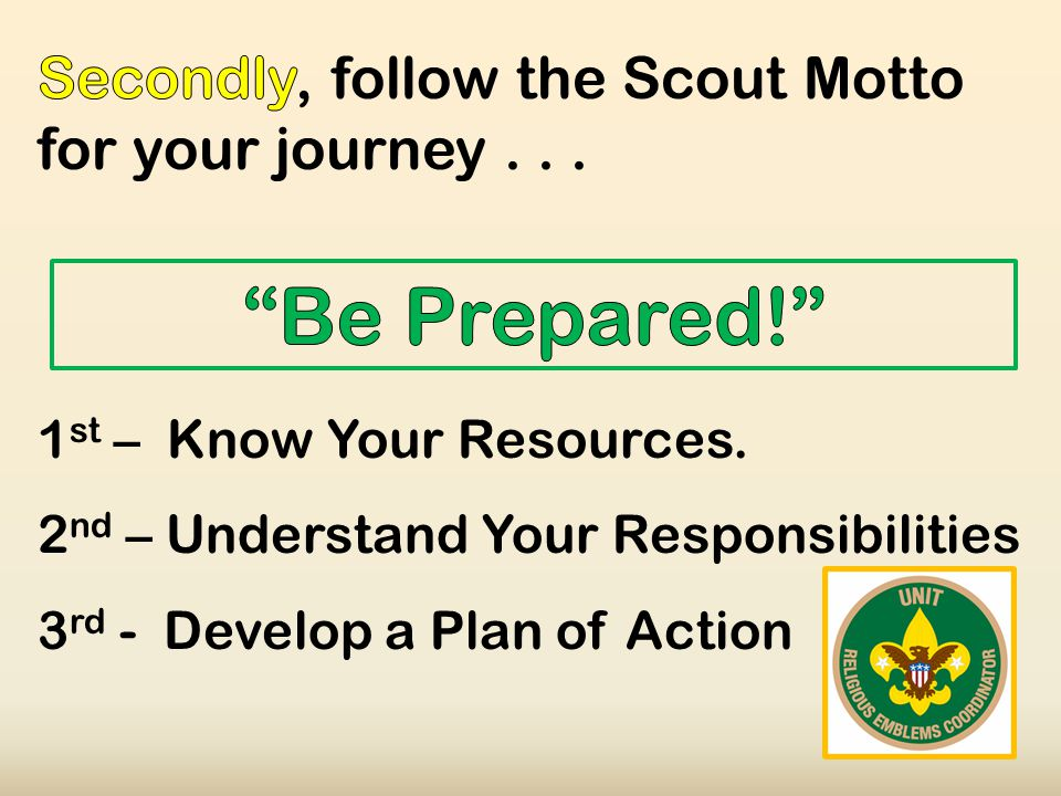 1 st – Know Your Resources. 2 nd – Understand Your Responsibilities 3 rd - Develop a Plan of Action