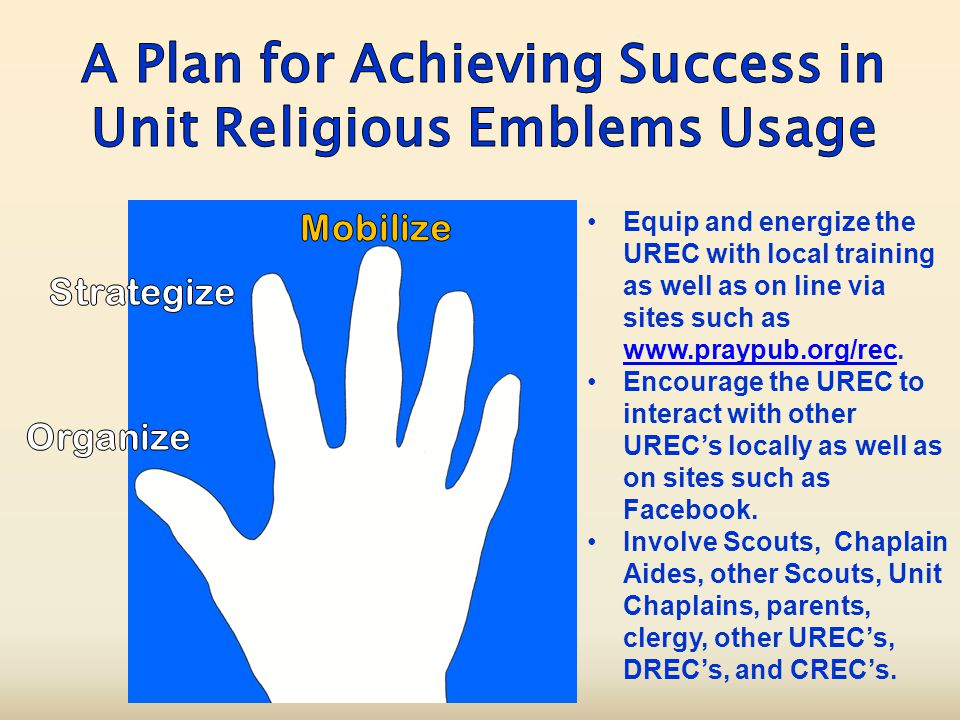 Equip and energize the UREC with local training as well as on line via sites such as www.praypub.org/rec.