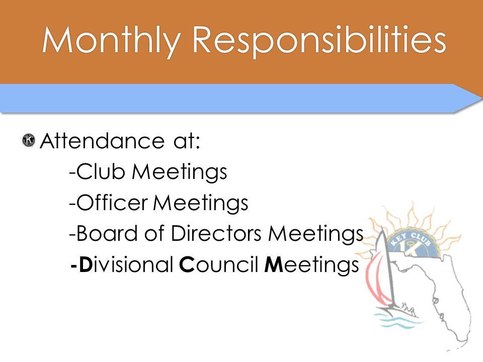 Monthly ResponsibilitiesMonthly Responsibilities Attendance at: -Club Meetings -Officer Meetings -Board of Directors Meetings -D ivisional C ouncil M eetings