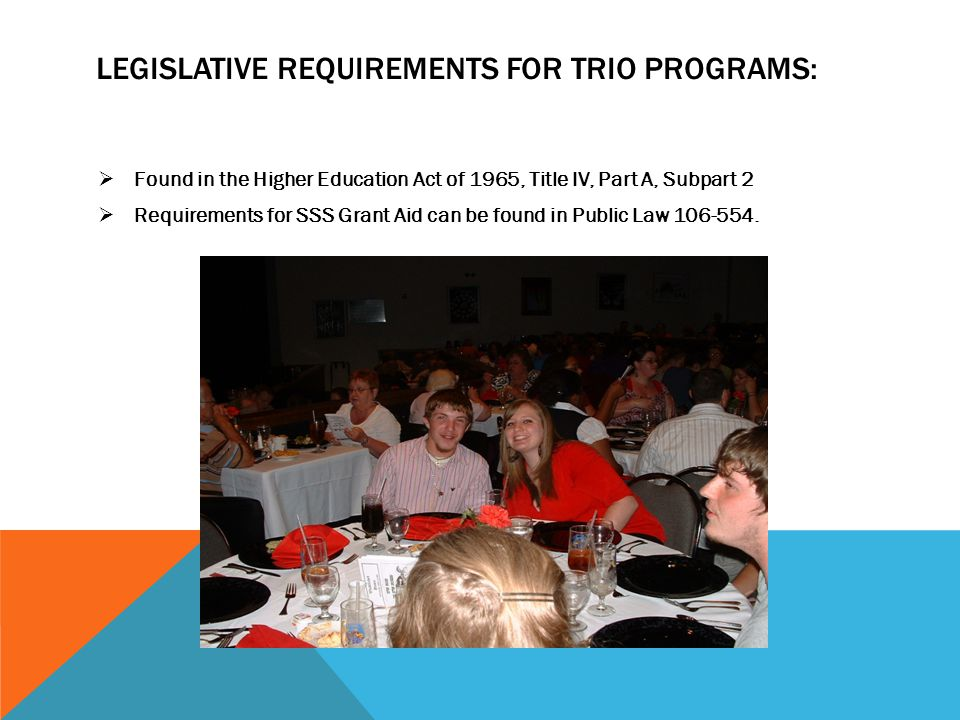LEGISLATIVE REQUIREMENTS FOR TRIO PROGRAMS:  Found in the Higher Education Act of 1965, Title IV, Part A, Subpart 2  Requirements for SSS Grant Aid can be found in Public Law 106-554.