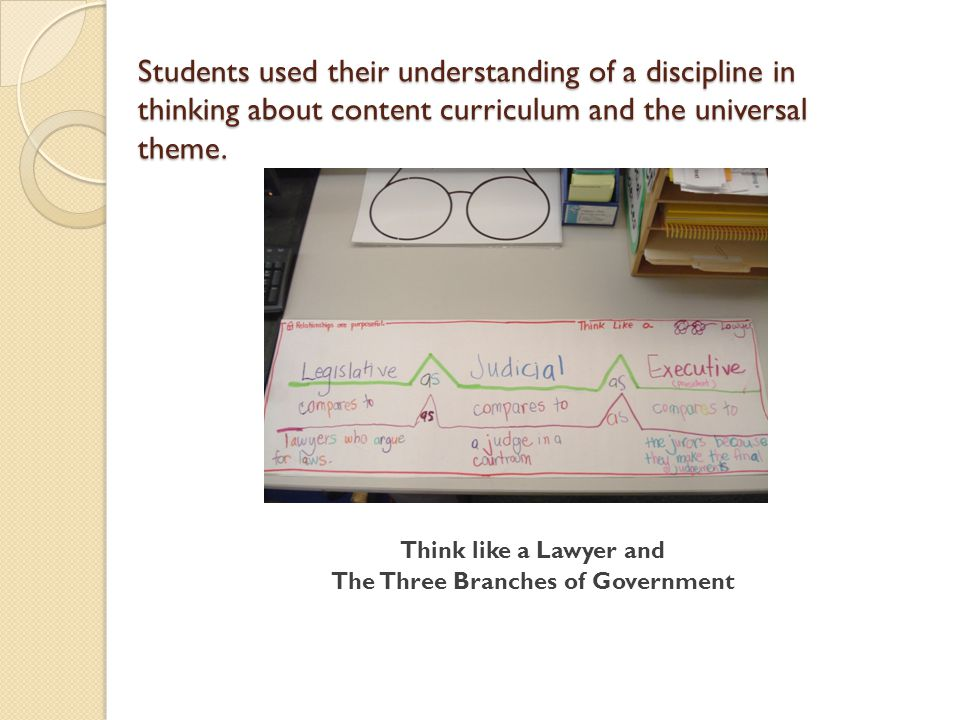 Students used their understanding of a discipline in thinking about content curriculum and the universal theme.