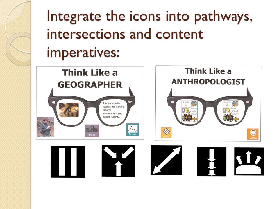 Integrate the icons into pathways, intersections and content imperatives:
