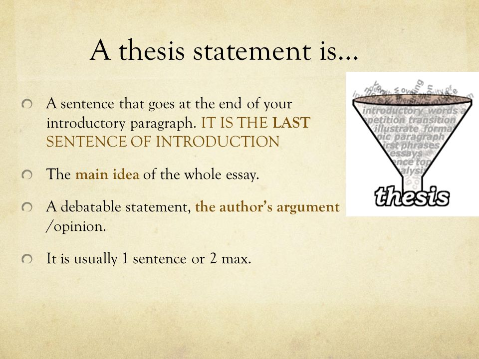 A thesis statement is… A sentence that goes at the end of your introductory paragraph.