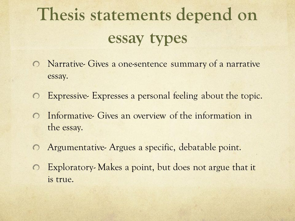 Thesis statements depend on essay types Narrative- Gives a one-sentence summary of a narrative essay.