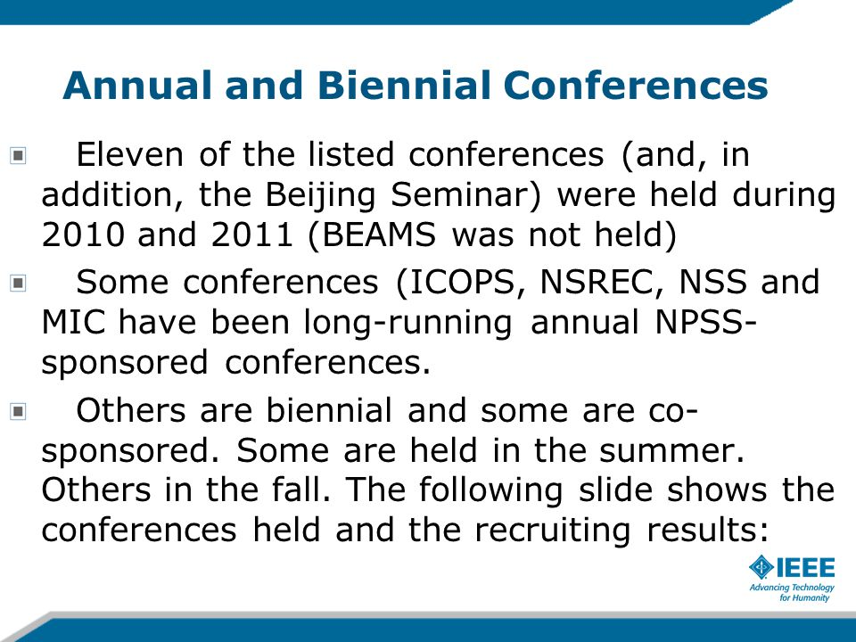 Annual and Biennial Conferences Eleven of the listed conferences (and, in addition, the Beijing Seminar) were held during 2010 and 2011 (BEAMS was not held) Some conferences (ICOPS, NSREC, NSS and MIC have been long-running annual NPSS- sponsored conferences.