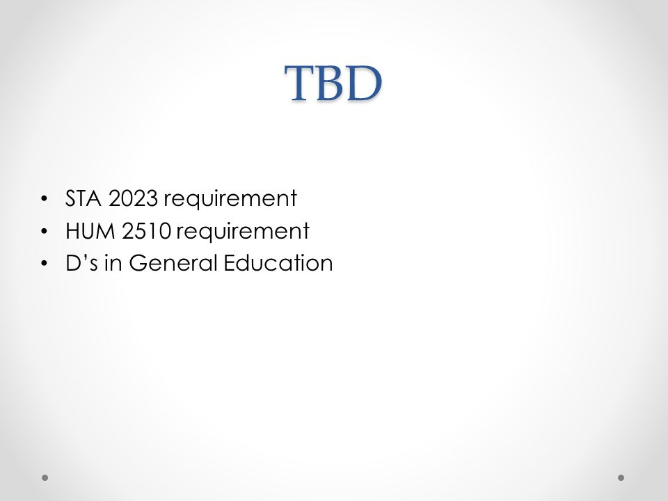 TBD STA 2023 requirement HUM 2510 requirement D's in General Education