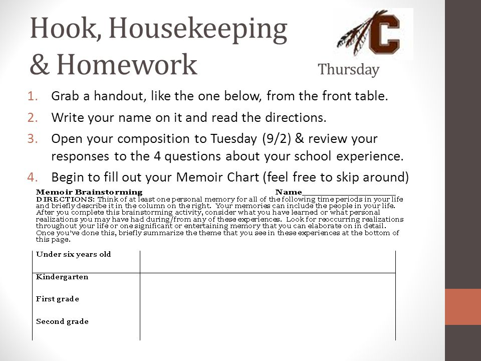 Hook, Housekeeping & Homework Thursday 1.Grab a handout, like the one below, from the front table. 2.Write your name on it and read the directions. 3.