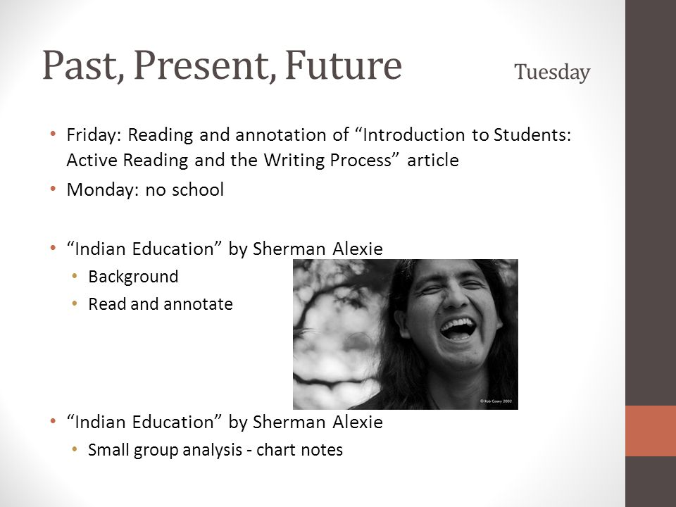 """Past, Present, Future Tuesday Friday: Reading and annotation of """"Introduction to Students: Active Reading and the Writing Process"""" article Monday: no"""