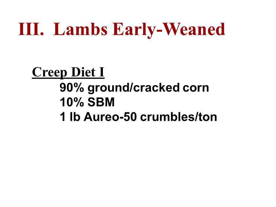 III. Lambs Early-Weaned Creep Diet I 90% ground/cracked corn 10% SBM 1 lb Aureo-50 crumbles/ton