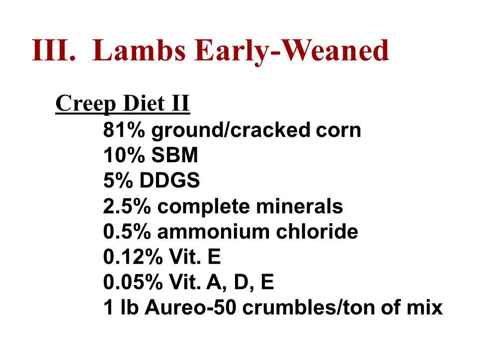 III. Lambs Early-Weaned Creep Diet II 81% ground/cracked corn 10% SBM 5% DDGS 2.5% complete minerals 0.5% ammonium chloride 0.12% Vit. E 0.05% Vit. A,
