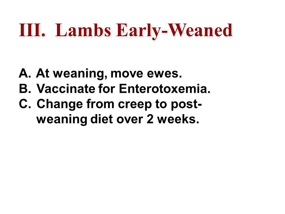 III. Lambs Early-Weaned A. At weaning, move ewes.