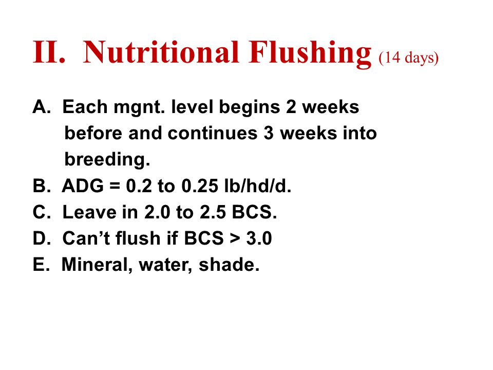 II. Nutritional Flushing (14 days) A. Each mgnt.