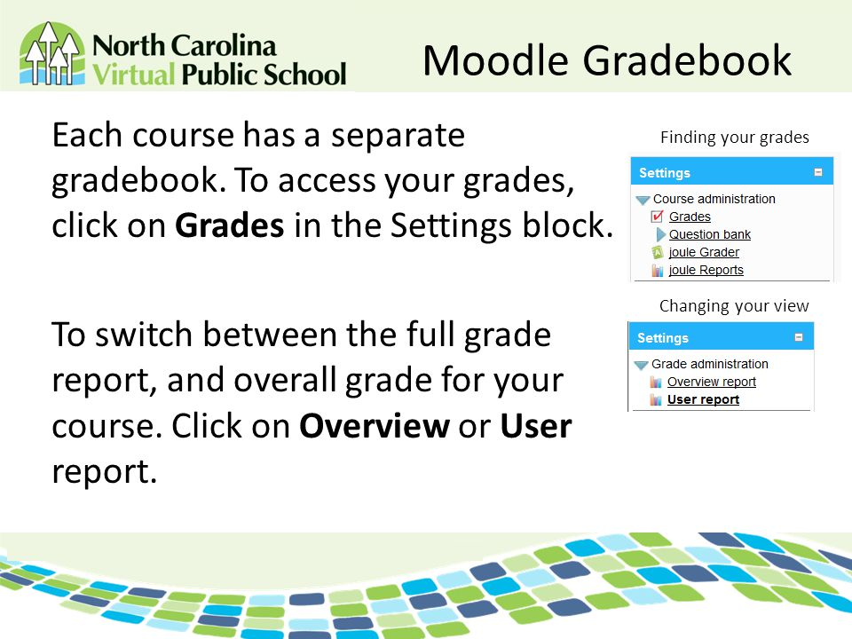 Moodle Gradebook Each course has a separate gradebook. To access your grades, click on Grades in the Settings block. To switch between the full grade